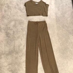 2 piece crop top, wide pant set